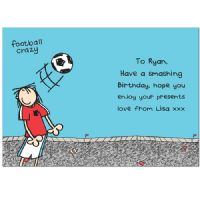 Personalised Bang On The Door Football Crazy Age Card - Ideal for birthday